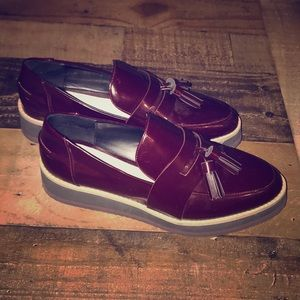 ZARA women platform tassel burgundy loafers